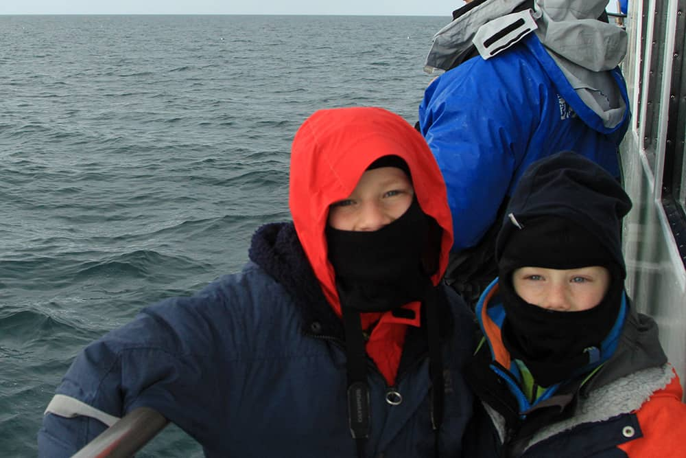 Nils and Till on the Láki Tours Boat in April 2015 - They Came on the Boat Again One Year Later!
