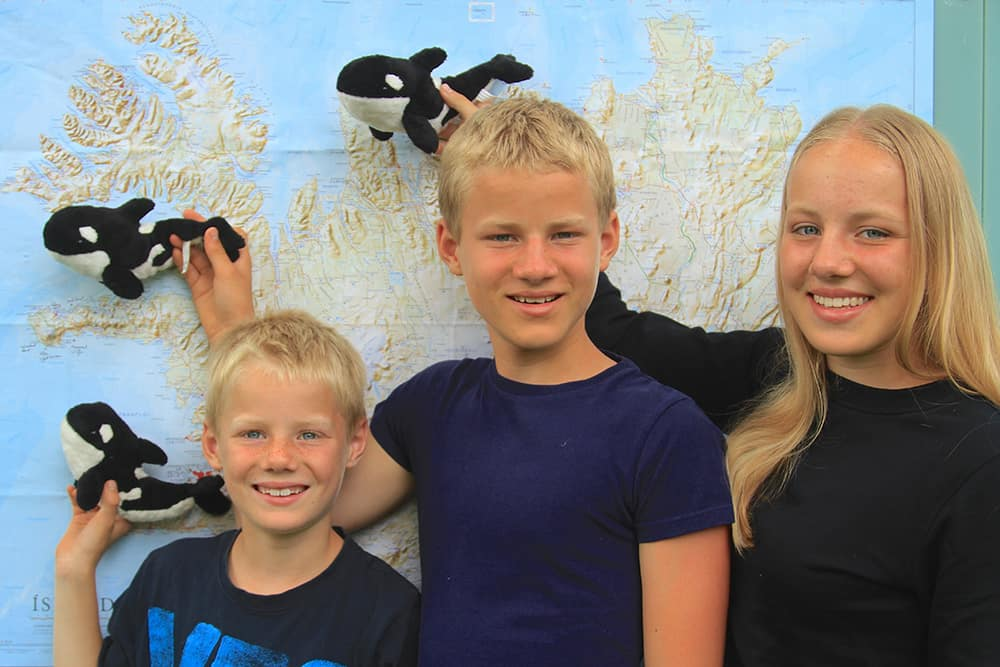 Till, Nils and Nina (from Left to Right) in Front of a Map of Iceland - Note: All Orcas Swim Towards Snæfellsnes!