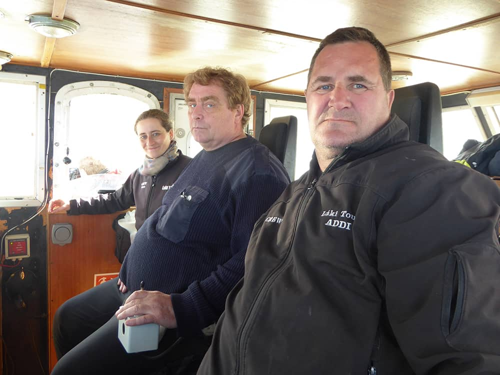 The crew relaxed in the wheelhouse on the way back to harbour